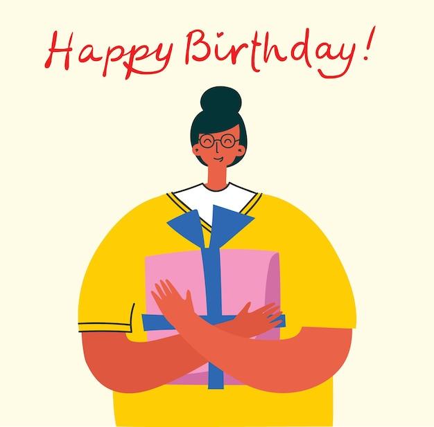 Cartão de feliz aniversário com letras e garota segurando o presente.