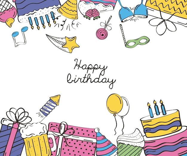 Cartão de feliz aniversário com letras e moldura