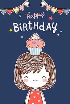 Cartão de feliz aniversário com linda garota em estilo simples