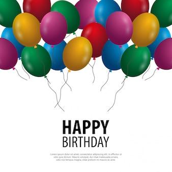 Cartão de feliz aniversário com luz de fundo e balões