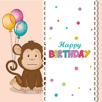Cartão de feliz aniversário com macaco bonito
