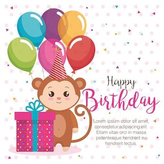 Cartão de feliz aniversário com macaco