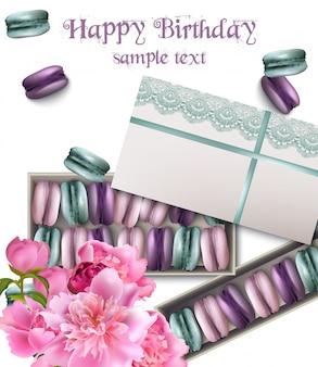 Cartão de feliz aniversário com macaroons e peônia flores