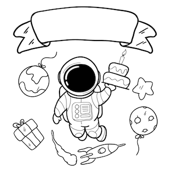 Cartão de feliz aniversário com mão desenhando astronauta e espaço