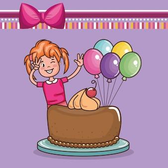 Cartão de feliz aniversário com menina
