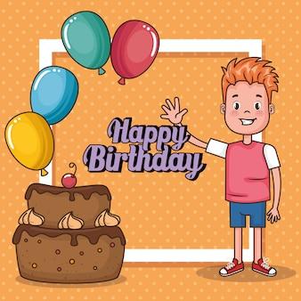 Cartão de feliz aniversário com menino