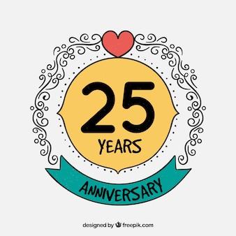 Cartão de feliz aniversário com ornamentos em estilo artesanal