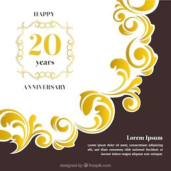 Cartão de feliz aniversário com ornamentos em estilo dourado