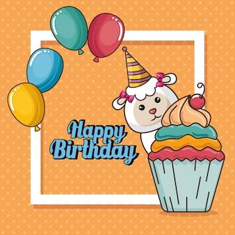 Cartão de feliz aniversário com ovelhas