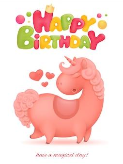 Cartão de feliz aniversário com personagem de desenho animado de unicórnio.