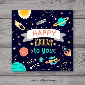 Cartão de feliz aniversario com planetas em estilo plano