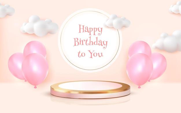 Cartão de feliz aniversário com pódio de luxo realista e balão cromado