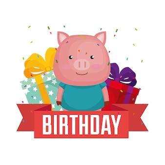 Cartão de feliz aniversário com porquinho fofo