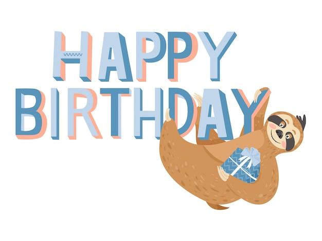 Cartão de feliz aniversário com preguiça