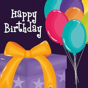 Cartão de feliz aniversário com presente e balões de hélio