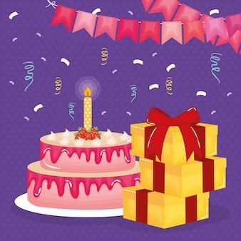 Cartão de feliz aniversário com presentes e bolo