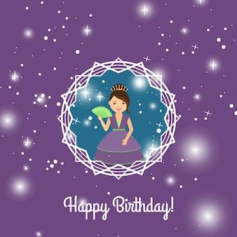 Cartão de feliz aniversário com princesa dos desenhos animados