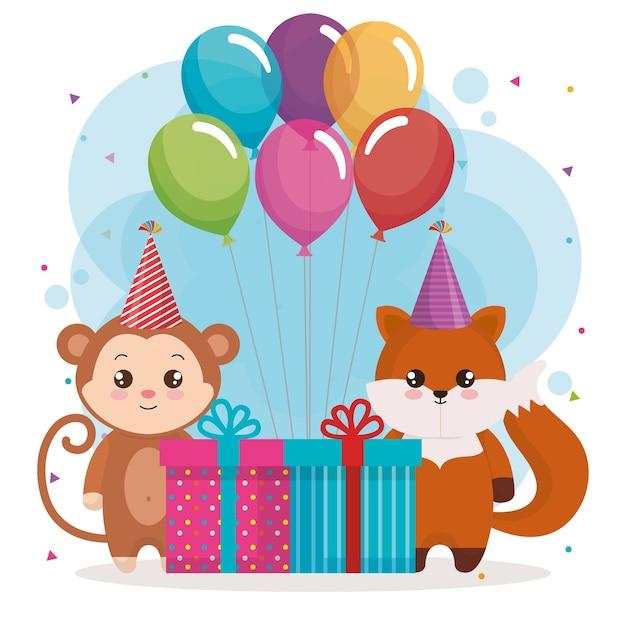 Cartão de feliz aniversário com raposa e macaco