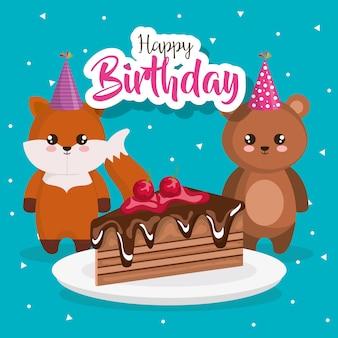 Cartão de feliz aniversário com raposa