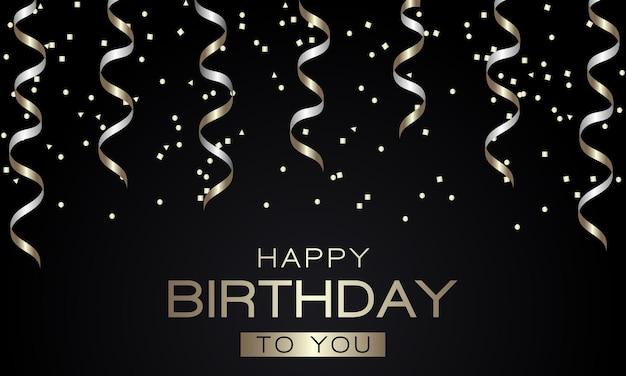 Cartão de feliz aniversário com serpentina dourada e confetes em fundo preto