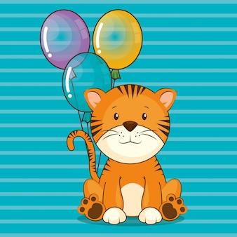 Cartão de feliz aniversário com tigre bonito