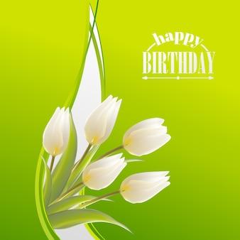Cartão de feliz aniversário com tulipa florescendo