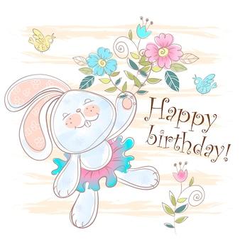 Cartão de feliz aniversário com um coelhinho fofo.