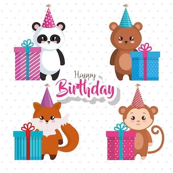 Cartão de feliz aniversário com um grupo de animais