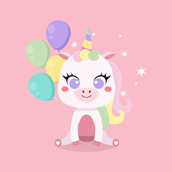 Cartão de feliz aniversário com um lindo unicórnio e balões