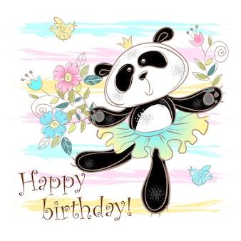 Cartão de feliz aniversário com um panda bonito em uma saia.