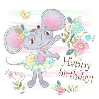 Cartão de feliz aniversário com um rato bonitinho.