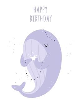 Cartão de feliz aniversário com uma linda baleia e estrela