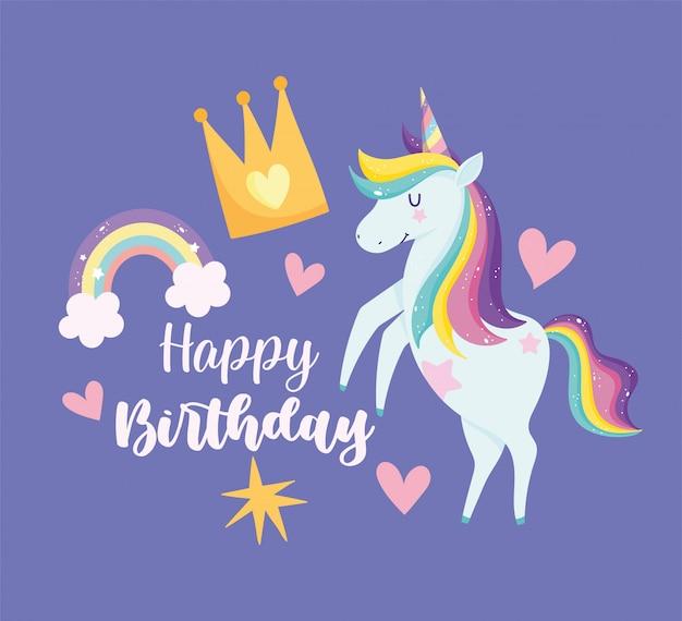 Cartão de feliz aniversário com unicórnio com cabelo arco-íris