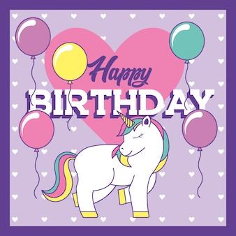 Cartão de feliz aniversário com unicórnio e balões