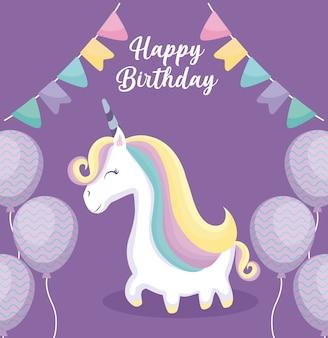 Cartão de feliz aniversário com unicórnio fofo