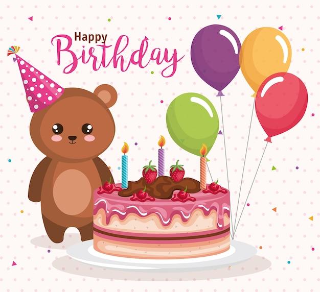Cartão de feliz aniversário com ursinho de pelúcia