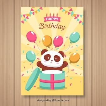 Cartão de feliz aniversario com urso de panda e balões