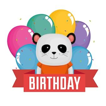 Cartão de feliz aniversário com urso fofo panda