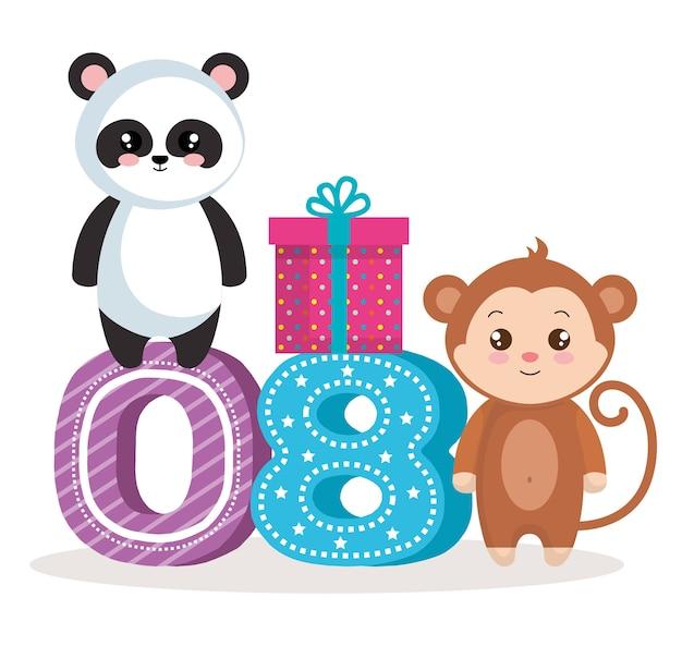 Cartão de feliz aniversário com urso panda e macaco