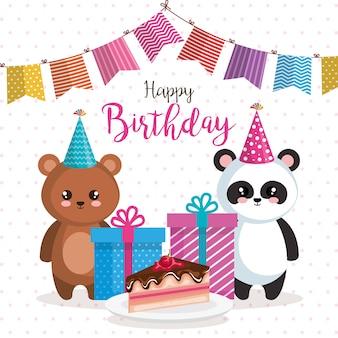 Cartão de feliz aniversário com urso panda e teddy