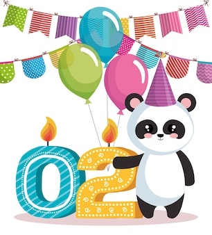Cartão de feliz aniversário com urso panda
