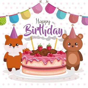 Cartão de feliz aniversário com urso teddy and fox