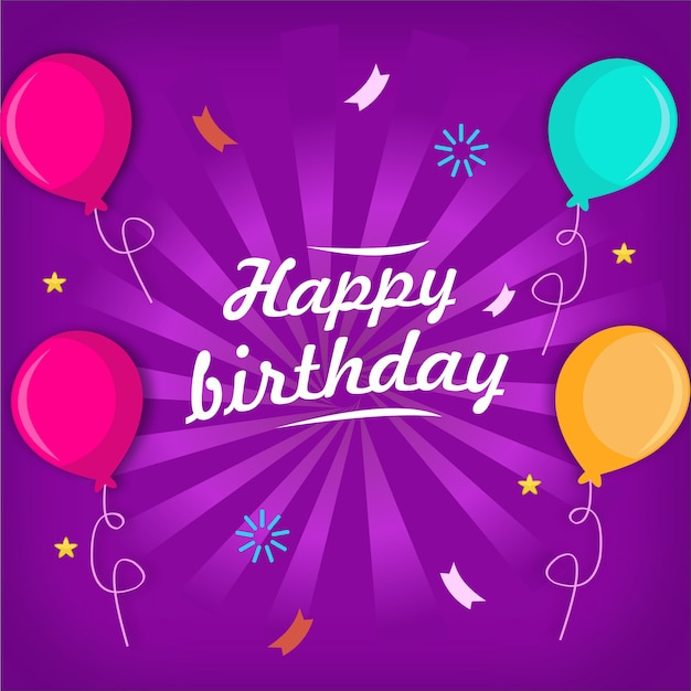 Cartão de feliz aniversário com vetor de balão