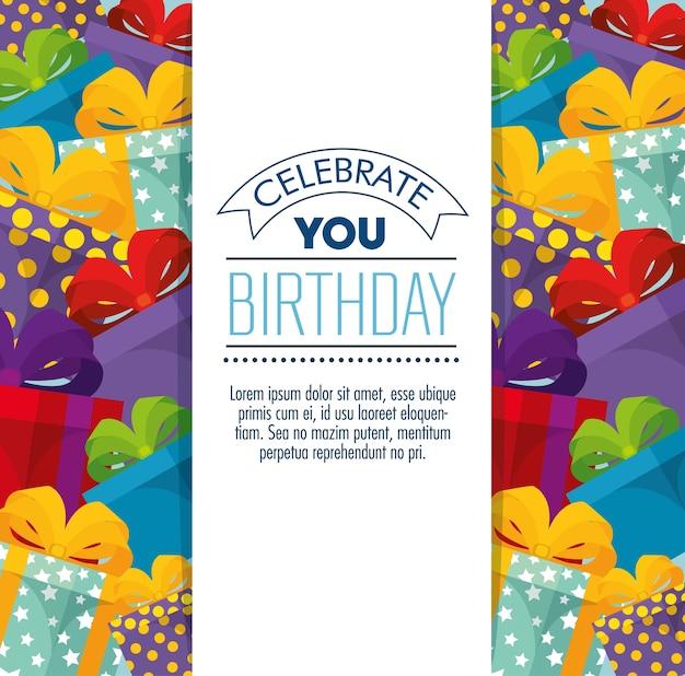 Cartão de feliz aniversário comemoração com presentes presentes