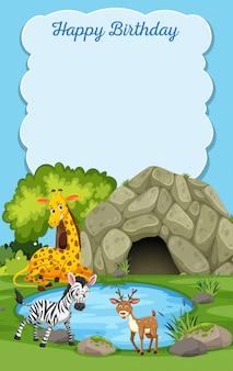 Cartão de feliz aniversário de animais selvagens