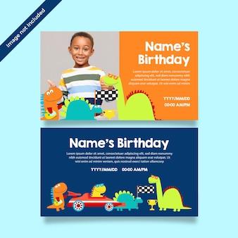 Cartão de feliz aniversário de dinossauro Vetor Premium