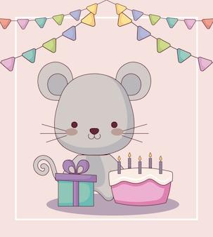 Cartão de feliz aniversário de rato fofo