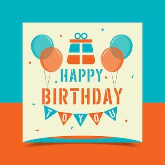 Cartão de feliz aniversário decorado com balões coloridos