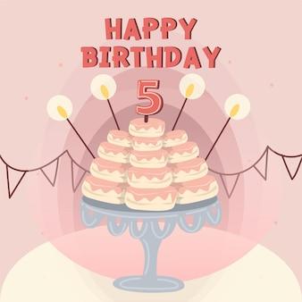 Cartão de feliz aniversário decorado com cupcakes