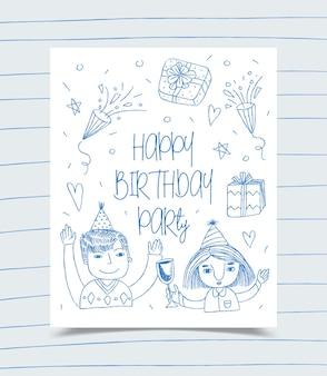 Cartão de feliz aniversário decorado com menina, menino e caixa de presente